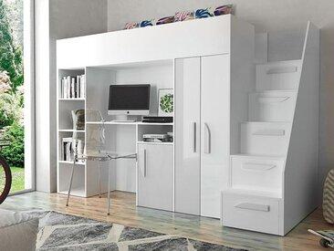 Lit combiné PARADISIO 90x200 cm blanc/blanc brillant avec escalier à droite