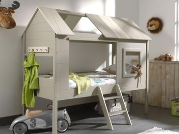 Lit surélevé cabane CHACHOU 90x200 crème sans rideaux