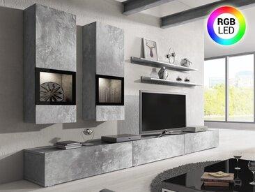 Mur tv-hifi BABEL 5 portes béton avec led