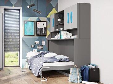 Lit escamotable BOOMER 80x190 cm gris/bleu