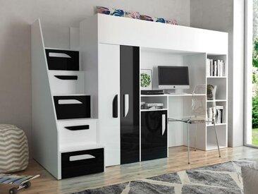 Lit combiné PARADISIO 90x200 cm blanc/noir brillant avec escalier à gauche