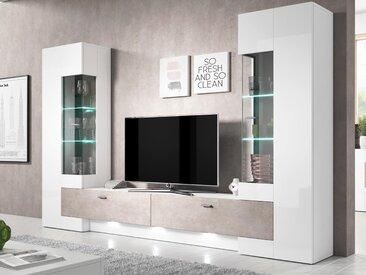 Mur tv-hifi FOSTER 4 portes blanc laqué/béton sans led