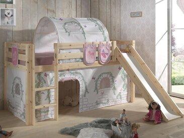 Lit enfant ALIZE avec toboggan 90x200 cm pin naturel tente Chateau