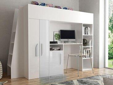 Lit combiné PARADISIO 90x200 cm blanc/blanc brillant avec échelle à gauche
