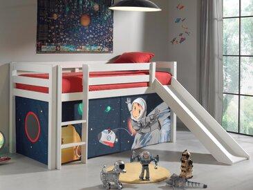 Lit enfant ALIZE avec toboggan 90x200 cm pin blanc tente Space