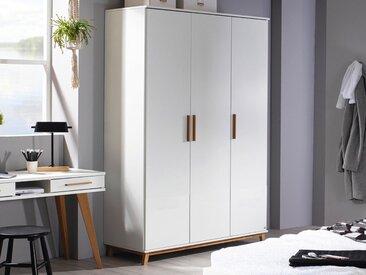 Armoire CARLINO 3 portes blanc/chêne massif