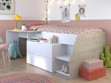 Lit combiné MICKEY 90x190 cm blanc/gris loft