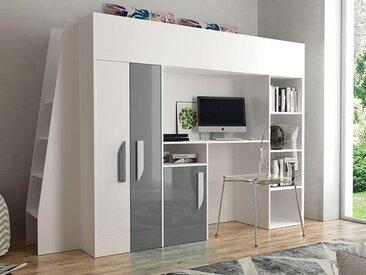 Lit combiné PARADISIO 90x200 cm blanc/gris brillant avec échelle à gauche