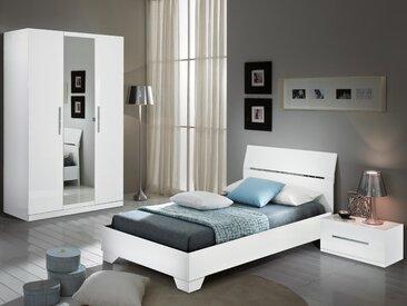 Chambre complète GINOLA 90x190 cm blanc laqué