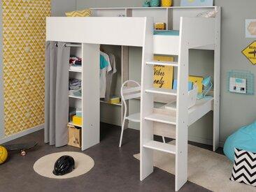 Lit surélevé TYSON 90x200 cm blanc/gris loft