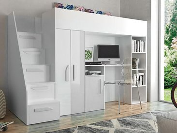 Lit combiné PARADISIO 90x200 cm blanc/blanc brillant avec escalier à gauche