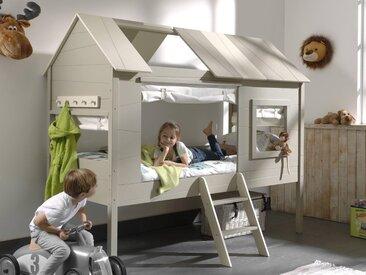 Lit surélevé cabane CHACHOU 90x200 crème avec rideaux