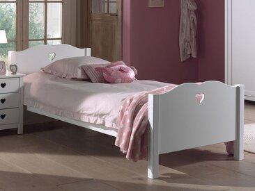 Lit AMORA 90x200 cm blanc sans tiroir