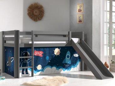 Lit enfant ALIZE avec toboggan 90x200 cm pin gris tente Astro II