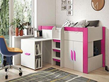 Lit combiné TARANTINO 90x200 cm blanc/rose brillant avec bureau à gauche