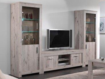 Mur tv-hifi POSEIDON 6 portes chêne grisé