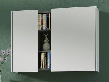 Armoire murale VESUVE 2 portes blanc/graphite
