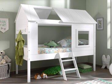 Lit surélevé cabane CHACHOU 90x200 blanc sans rideaux
