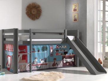Lit enfant ALIZE avec toboggan 90x200 cm pin gris tente Animalerie