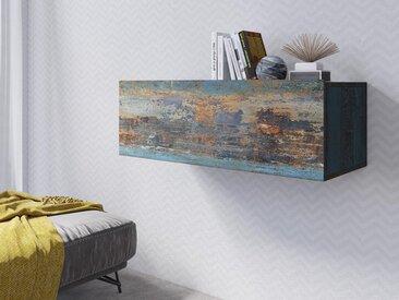 Armoire murale horizontale VENATO 1 porte canyon effet métal
