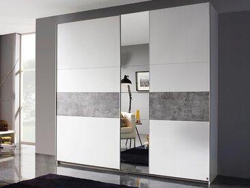ARMOIRE KORO 2 portes coulissantes blanc/béton avec miroir