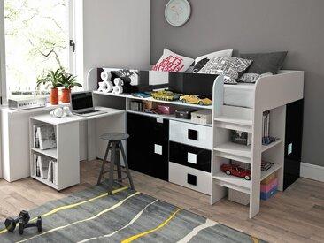 Lit combiné TOLISSO 90x200 cm blanc/noir brillant avec bureau à gauche