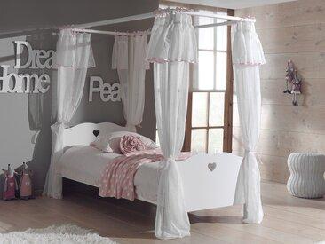 Lit à baldaquin AMORA 90x200 cm blanc avec rideaux et sans tiroir