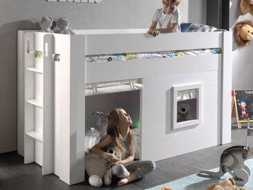 Lit enfant NAOM surélevé 90x200 cm blanc avec rideaux