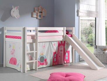 Lit enfant ALIZE avec toboggan 90x200 cm pin blanc tente Princess