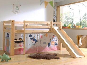 Lit enfant ALIZE avec toboggan 90x200 cm pin naturel tente Princess II