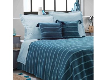 Couvre-lit coton jacquard Jakady bleu 230x250 cm