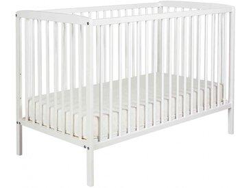 Lit bébé à barreaux 60x120 en bois blanc   matelas LT0001