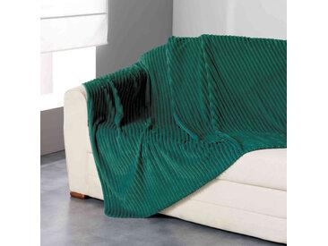 Plaid flanelle jacquard Zeline vert 125x150 cm