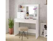 Coiffeuse 3 tiroirs avec miroir en bois blanc - CF9030