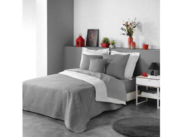 Couvre-lit matelassé bicolore anthracite/blanc Cottage 240x220 cm