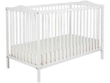 Lit bébé à barreaux 60x120 en bois blanc   matelas LT0003