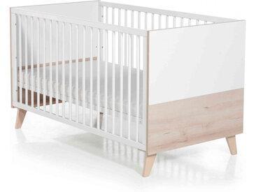 Lit bébé évolutif en bois blanc et hêtre réglable en hauteur Mette - 70x140 - Geuther