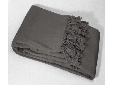 Dessus de lit gris anthracite à franges 240x220 - Douceur d'Intérieur