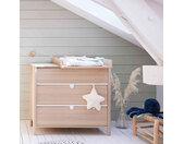 Commode bébé 3 tiroirs avec plan à langer en bois imitation chêne clair - CO5050-2