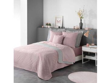 Couvre-lit matelassé bicolore rose/gris Cottage 240x220 cm