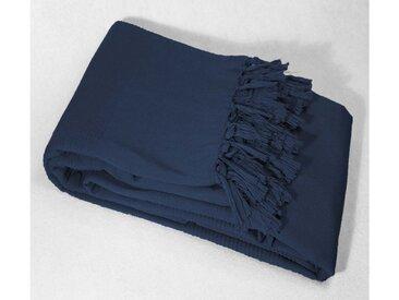 Dessus de lit bleu à franges 240x220 - Douceur d'Intérieur