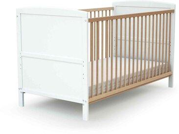 Lit bébé évolutif en bois hêtre et blanc 70x140
