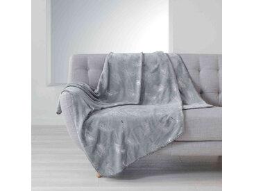 Plaid imprimé métallisé Sensalia gris 125x150 cm
