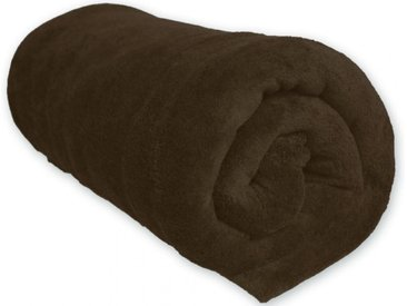 Couverture Polaire 100% Polyester Chocolat 180x220