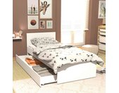 Lit tiroirs en bois blanc 90x190 - LT14013