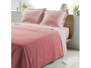 Couvre-lit coton tissé Symphonie rose 180x220 cm