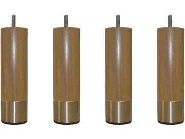 4 pieds cylindriques Hawaï bois brut et inox 15 cm
