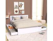 Lit tiroirs en bois blanc 160x200 - LT14013