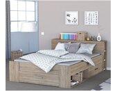 Lit en bois avec tiroir imitation chêne brossé 160x200 - Terre de Nuit
