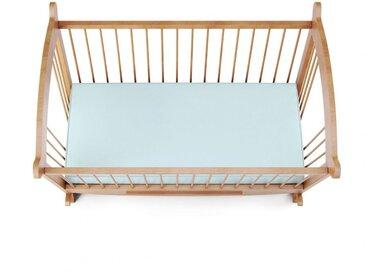 Drap housse jersey bleu ciel pour lit bébé 100% coton 60x120